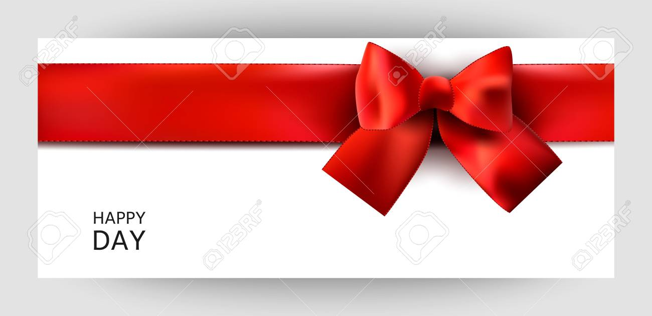 horizontal gift ribbon design background with a red bow invitation