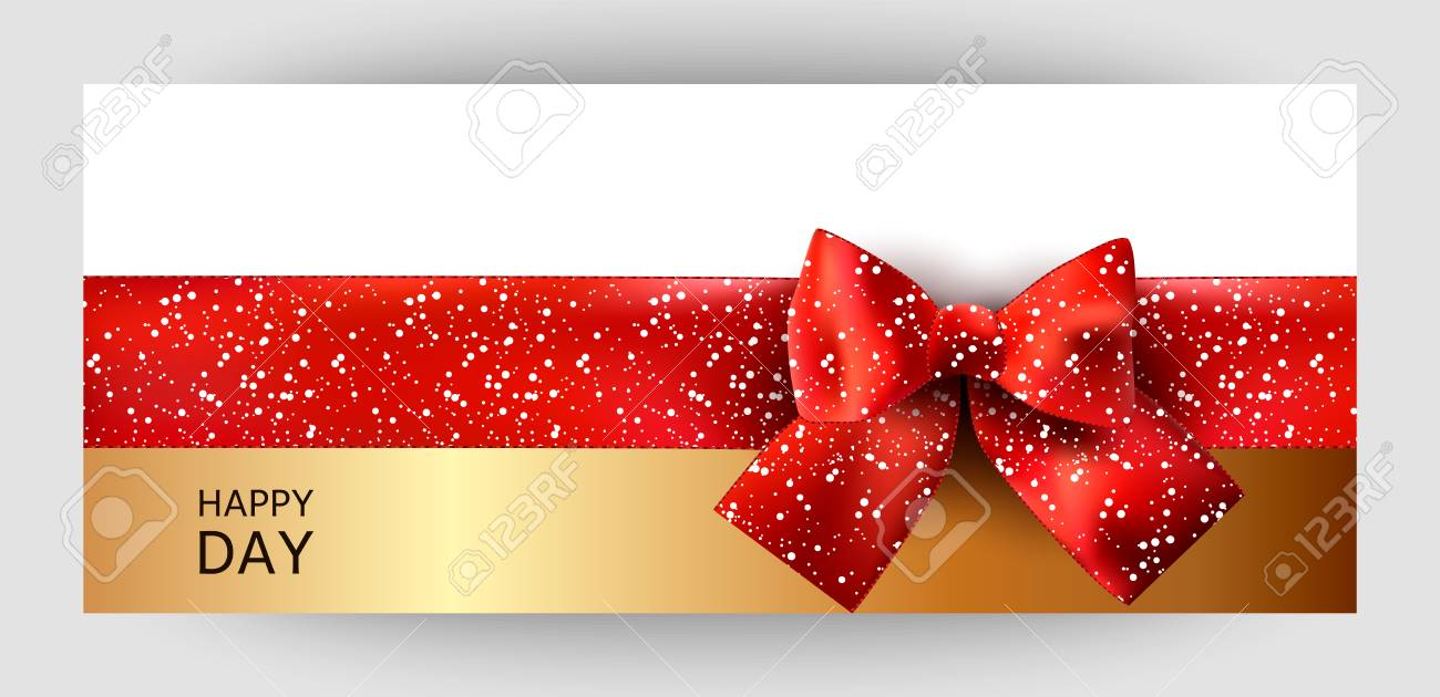 Horizontal Gift Ribbon Design Background With A Red Bow. Invitation ...