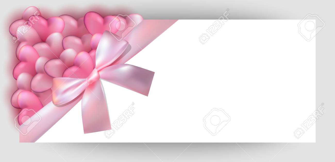 horizontal gift design background with apink bow ribbon invitation