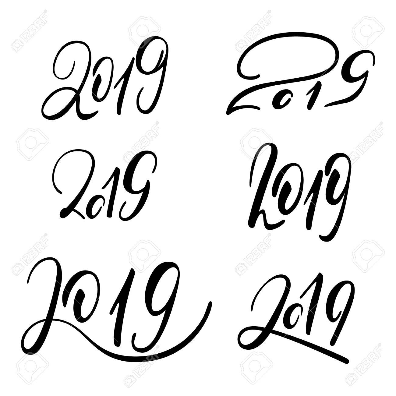 2019  New Year  Handwritten Lettering  Text  Modern Calligraphy