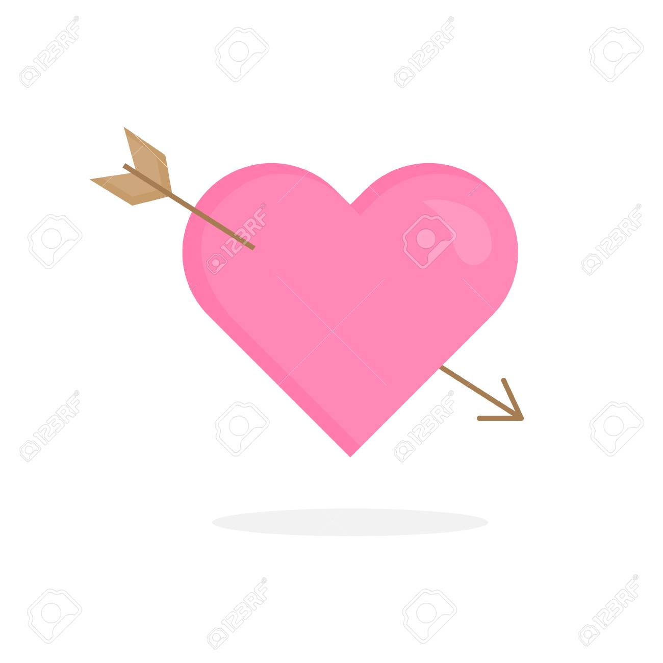 Simple Valentine's Day cupid heart vector icon. Pink heart with wood arrow. In love amor heart graphic illustration with shadow, isolated. - 121669042
