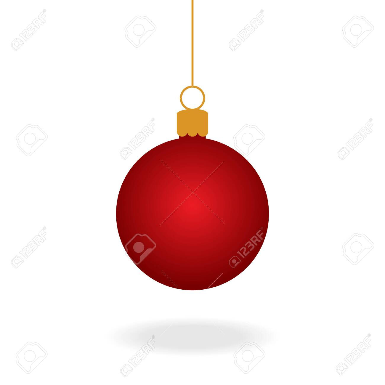 Christmas Ornament Vector.Realistic Red Christmas Ball Ornament Vector Graphic Illustration