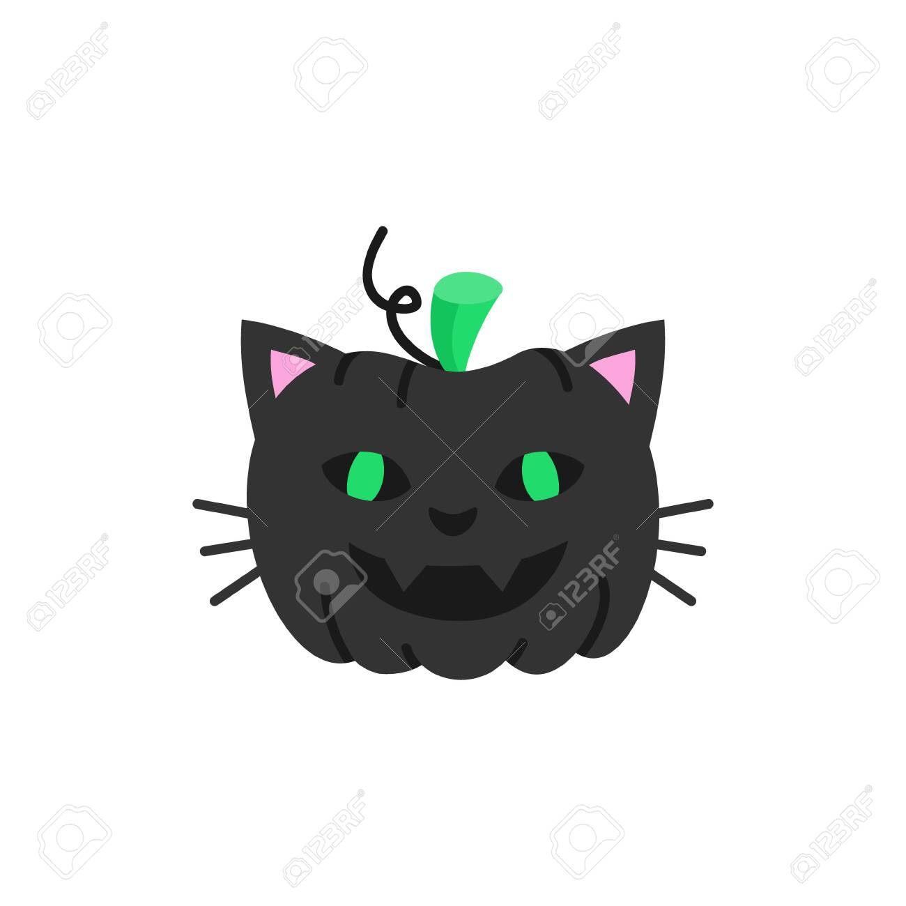 Cute hand drawn spooky carved pumpkin in cat costume vector illustration