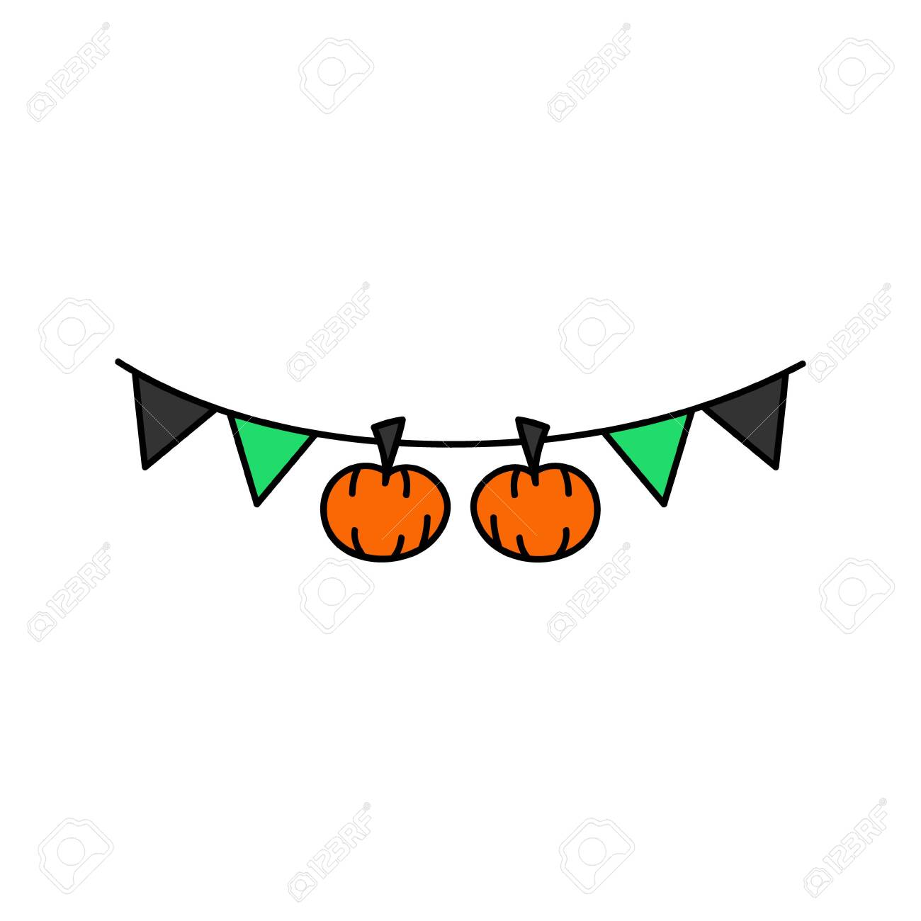 Cute Hand Drawn Halloween Garland Vector Illustration Holiday Royalty Free Cliparts Vectors And Stock Illustration Image 121528395