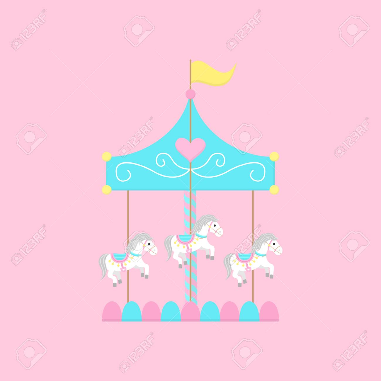 Merry Go Round Carousel With White Horses Vector Graphic Illustration Royalty Free Cliparts Vectors And Stock Illustration Image 122876330