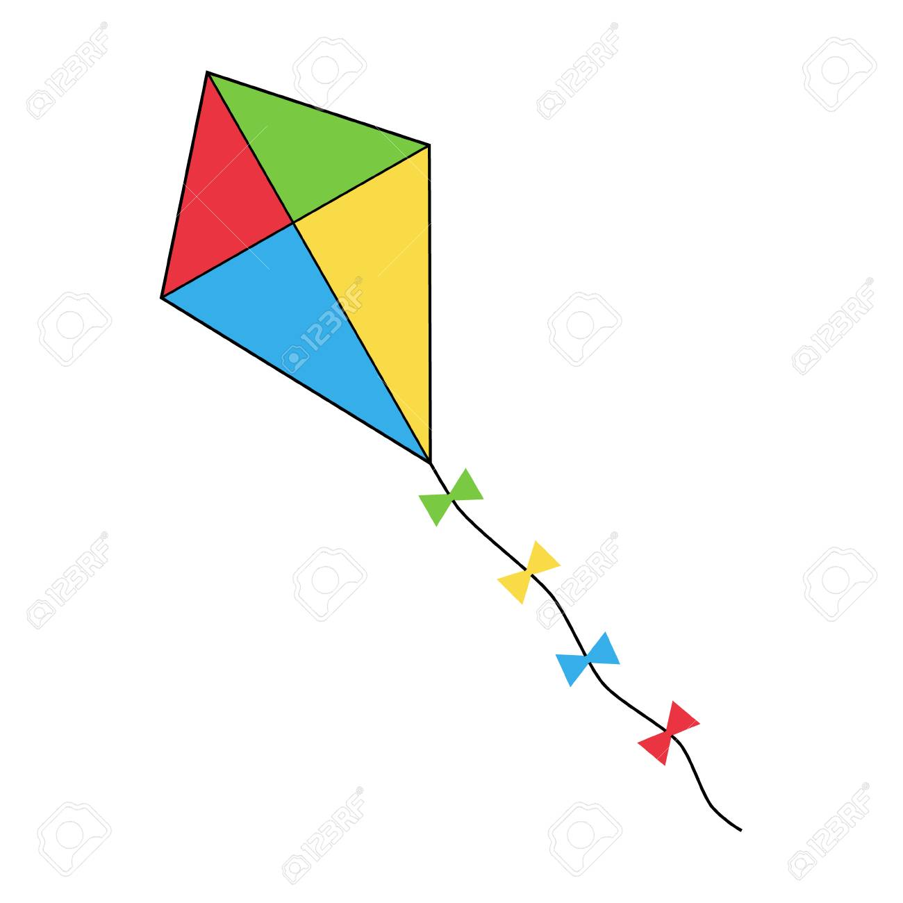 Colorful flying kite icon, vector illustration drawing. - 125897674
