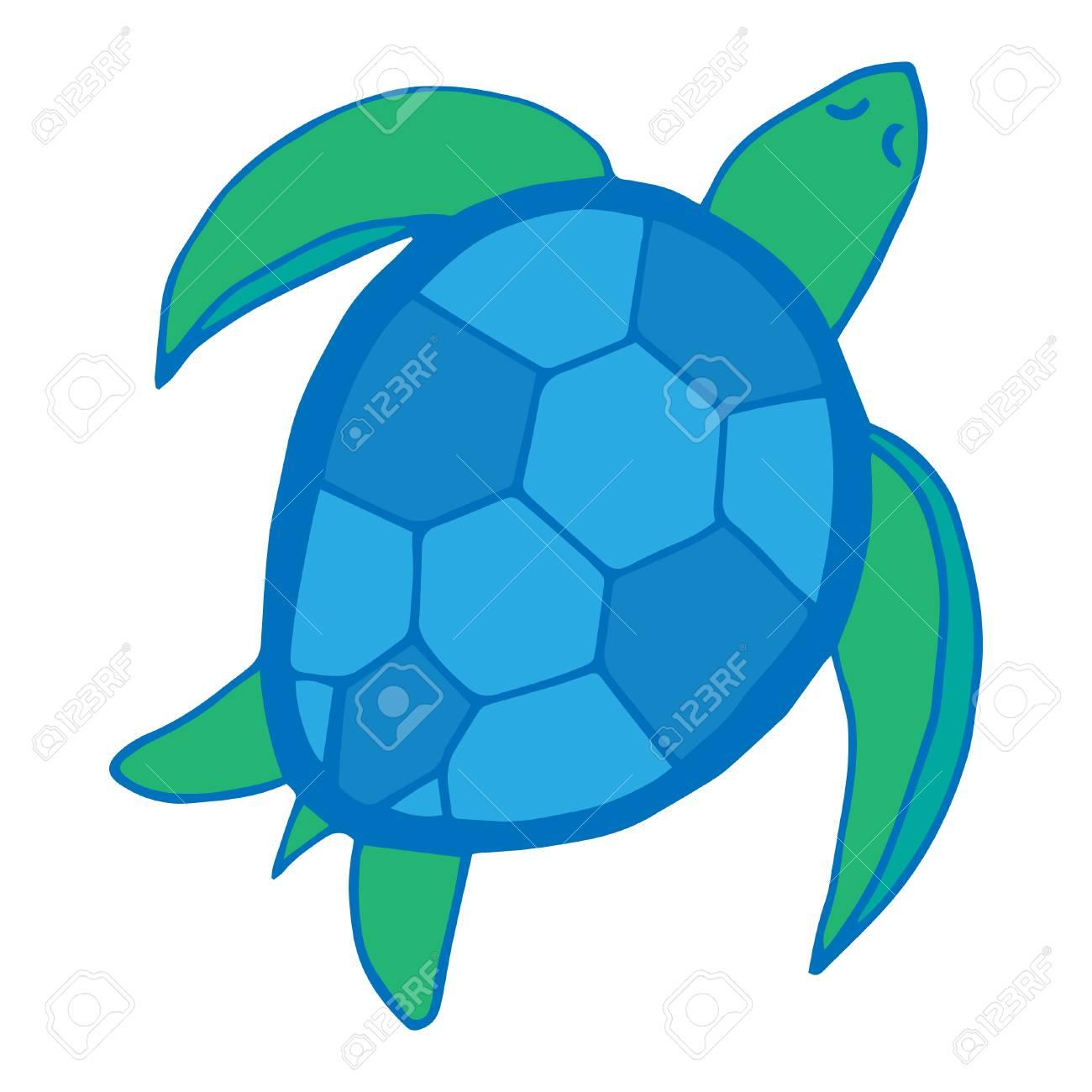 Sea Turtle Marine Animal Illustration Doodle Drawing In Blue