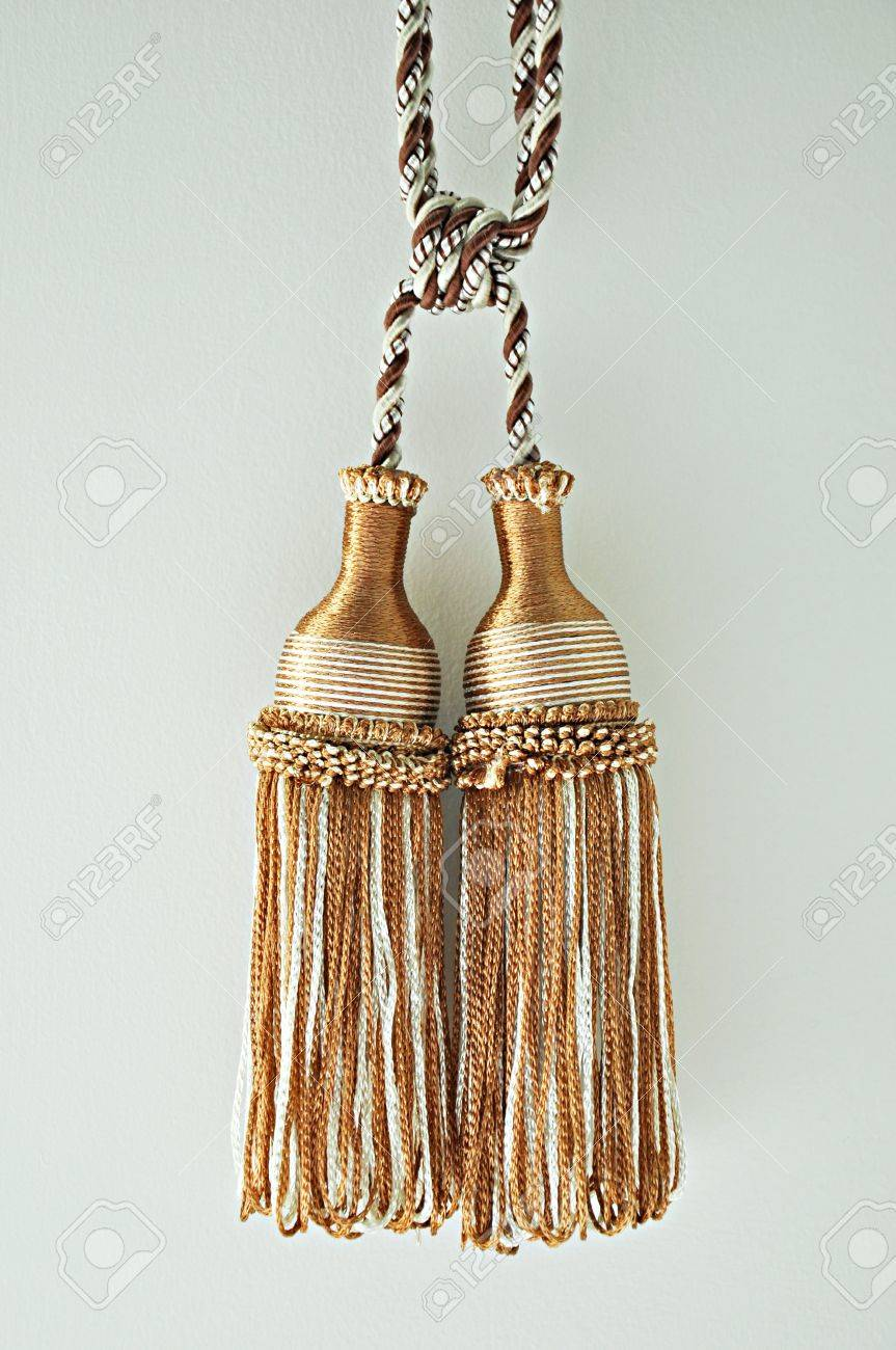 White And Brown Curtain Tassels Stock Photo Picture Royalty