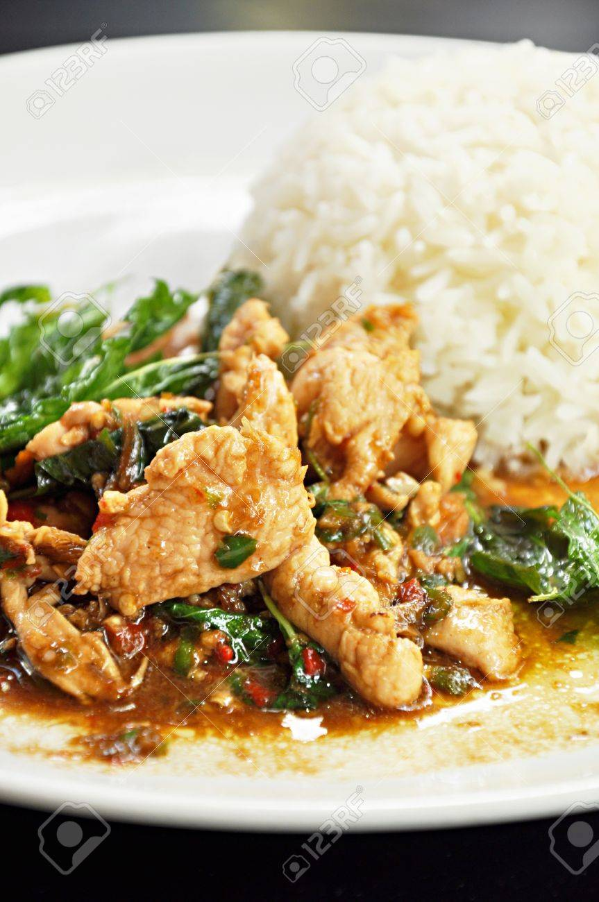 Thai food stir fried chicken chilli and basil leaf pad kapraow stock photo thai food stir fried chicken chilli and basil leaf pad kapraow forumfinder Image collections