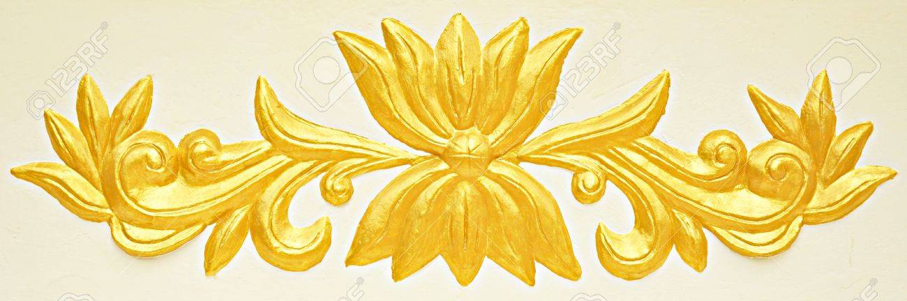 Asian style golden bas-relief on white background Stock Photo - 16776187