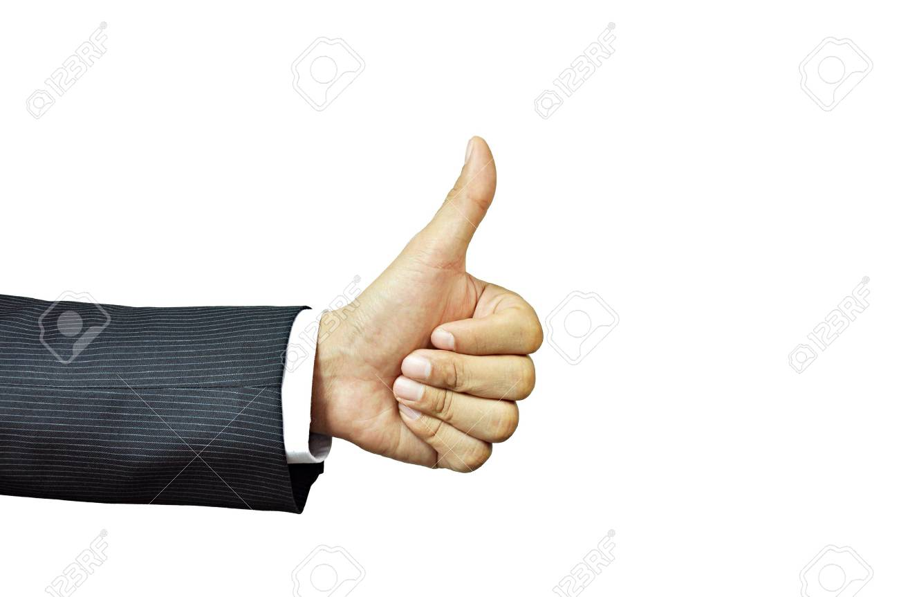 Businessman hand giving thumb up Stock Photo - 17017126