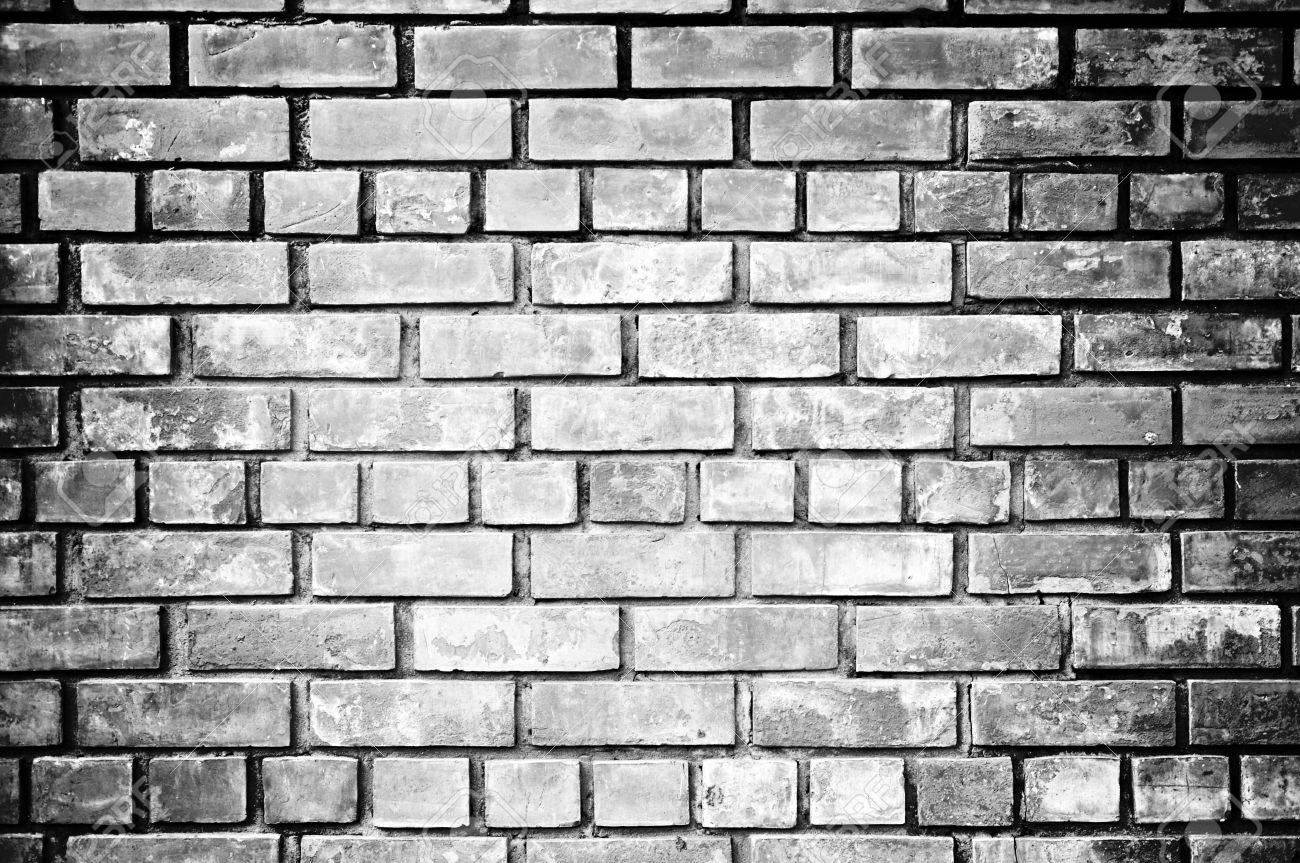 Black and white brick wall background stock photo 17775665