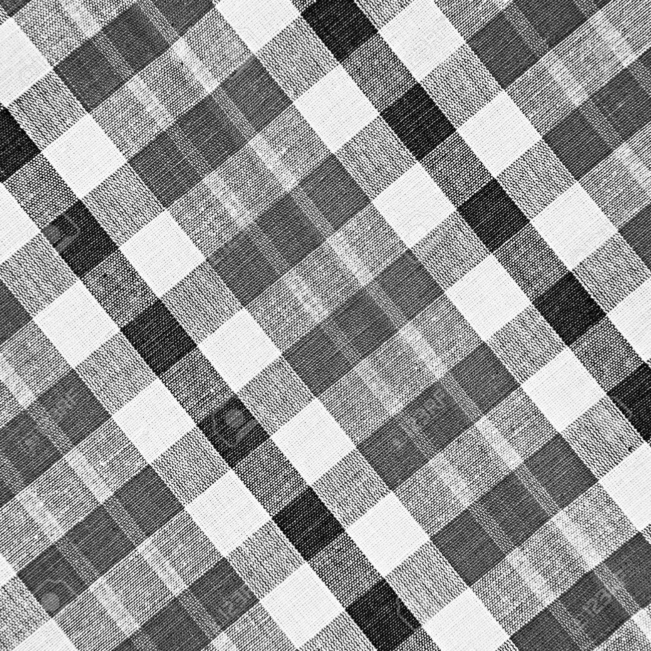 Black And White Checkered Fabric Background Stock Photo Picture And