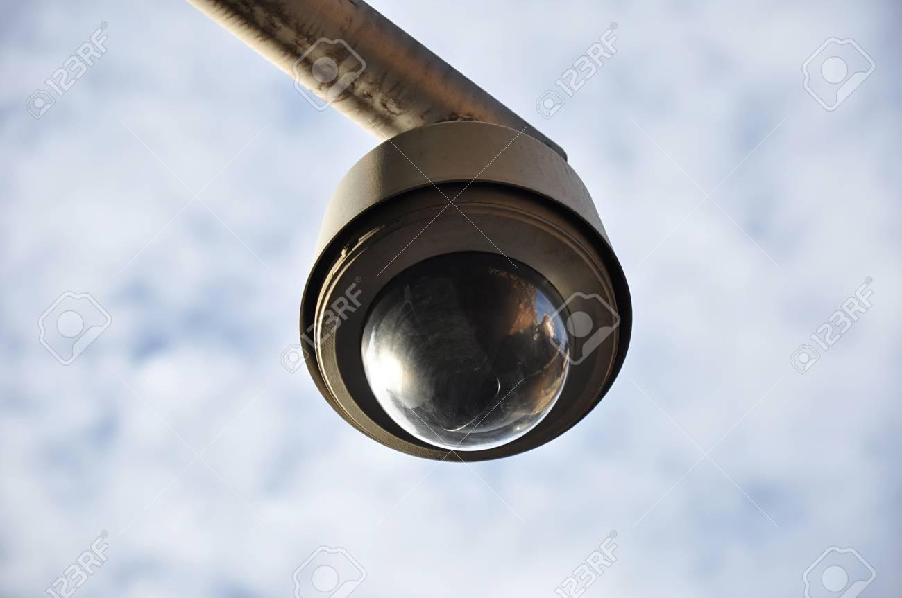 Round shape CCTV on cloudy sky background Stock Photo - 20027977
