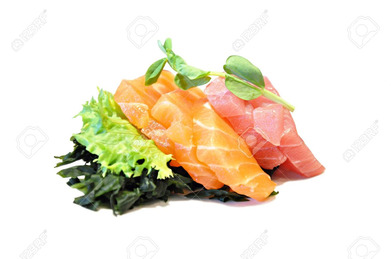 Raw fish with some vegetables (sashimi) - Japanese food Stock Photo - 20213281