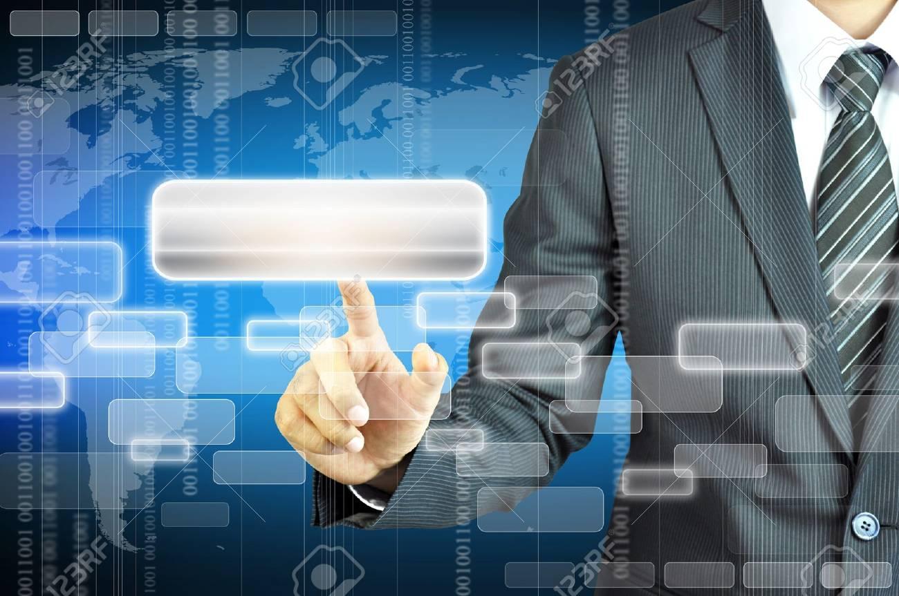 Businessman touching virtual screen Stock Photo - 20645849