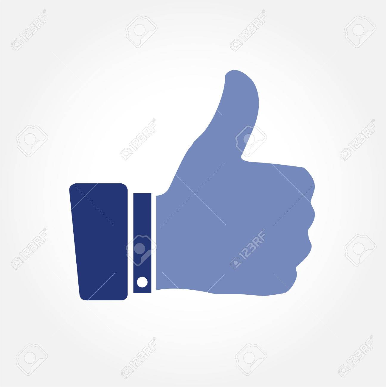 Blue thumbs up vector icon on white background Stock Vector - 22203631