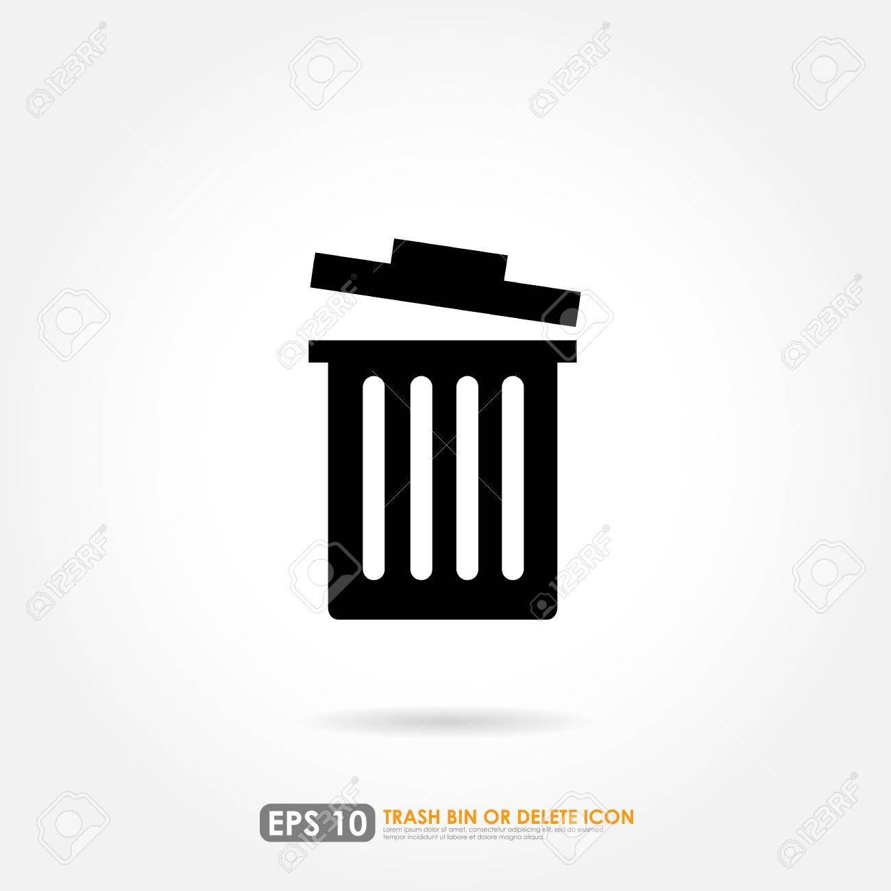 Black Trash Bin Or Delete Icon On White Background Royalty Free ...