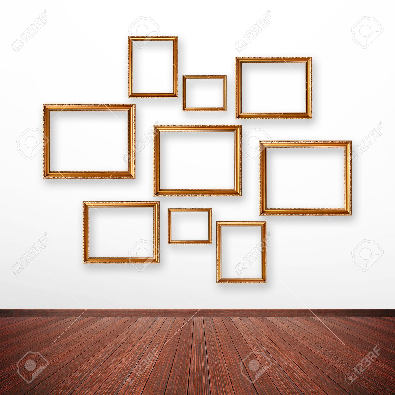 set of picture frames on the wall inside the room stock photo 29283824