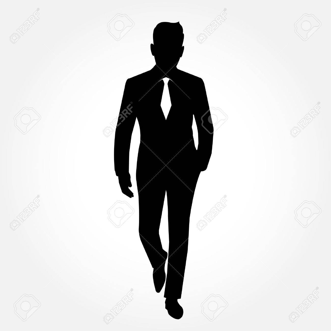 businessman silhouette full body picture with necktie on royalty