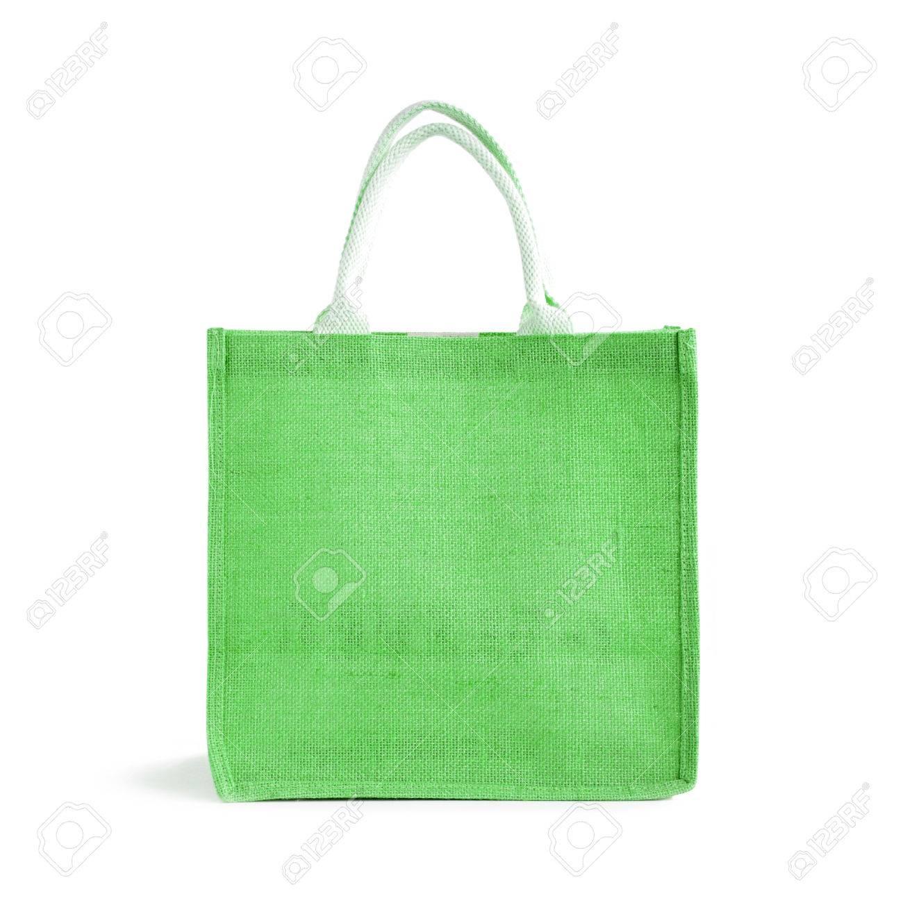 arpillera o bolsa de yute bolsa de la compra verde con bucle maneja