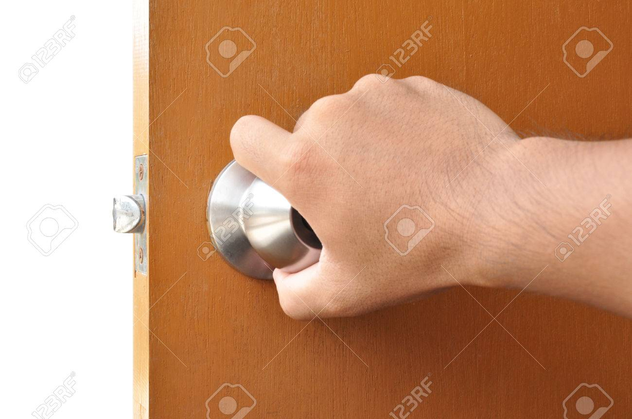 Hand Turning The Door Knob Stock Photo, Picture And Royalty Free ...