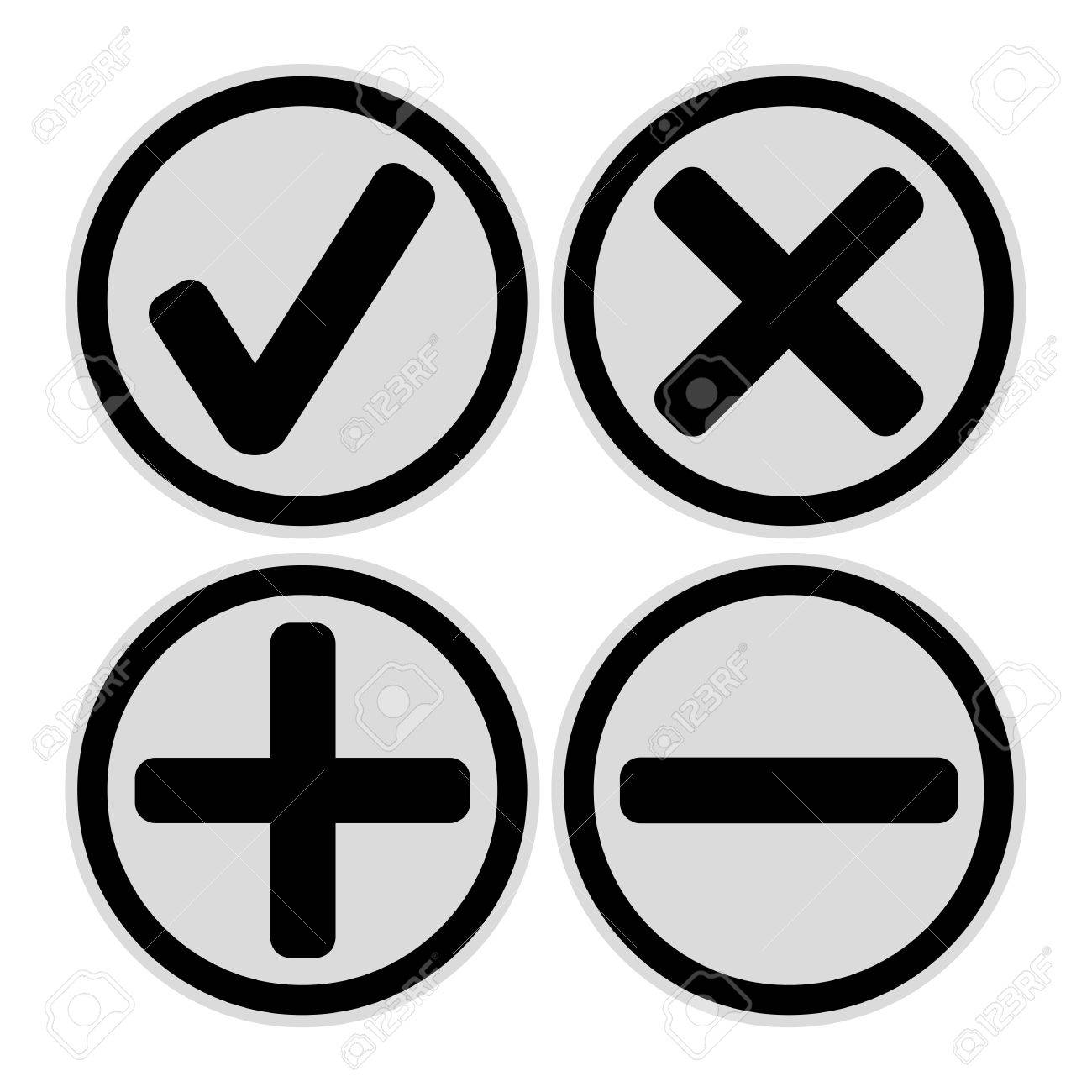 Add, delete, cross & check mark icons - can be used as website,