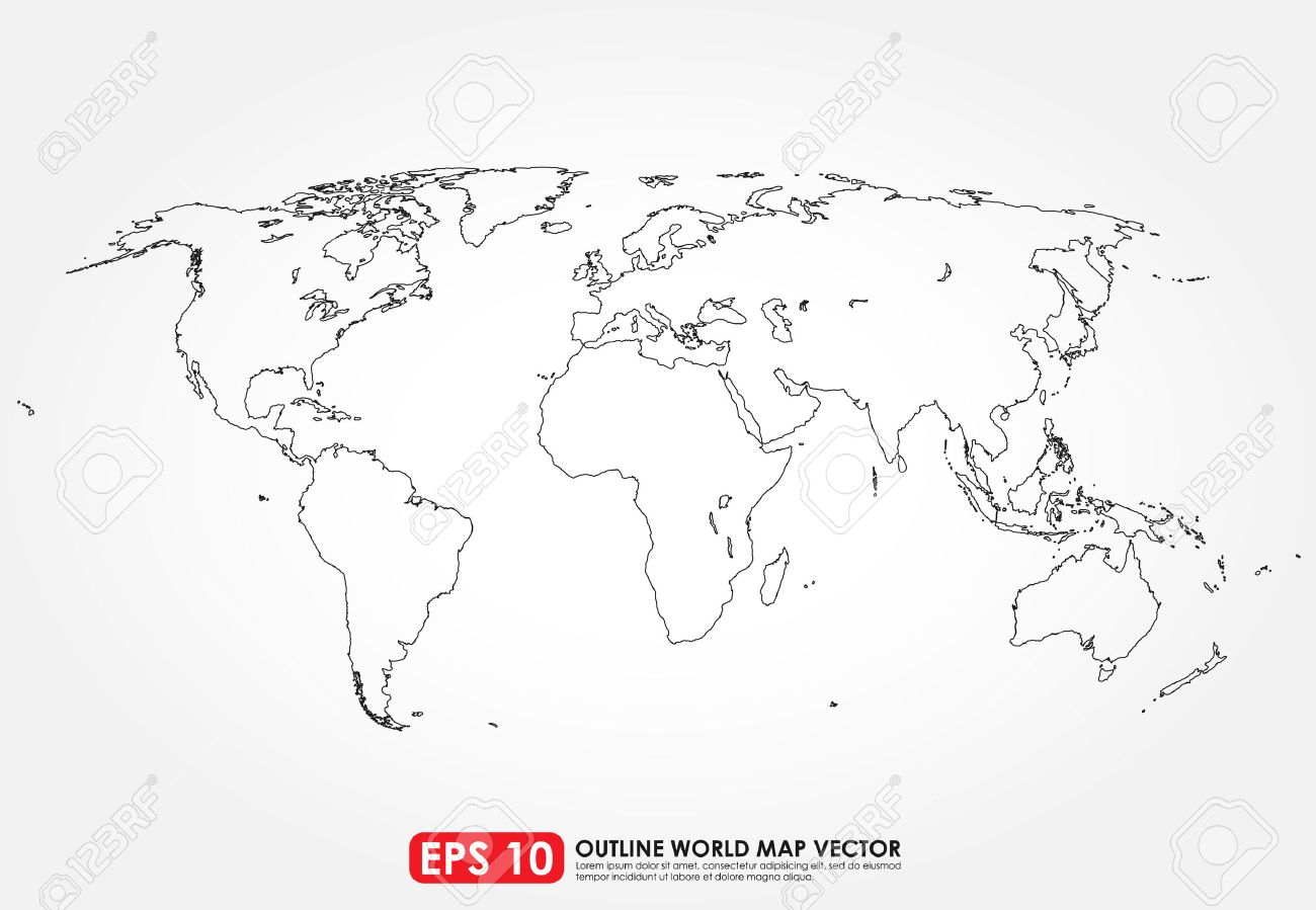 Flat world map outline royalty free cliparts vectors and stock flat world map outline stock vector 32806050 gumiabroncs Choice Image