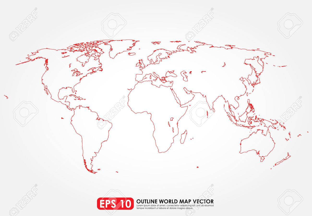 Flat World Map Outline In Red Color Stock Vector   32814094