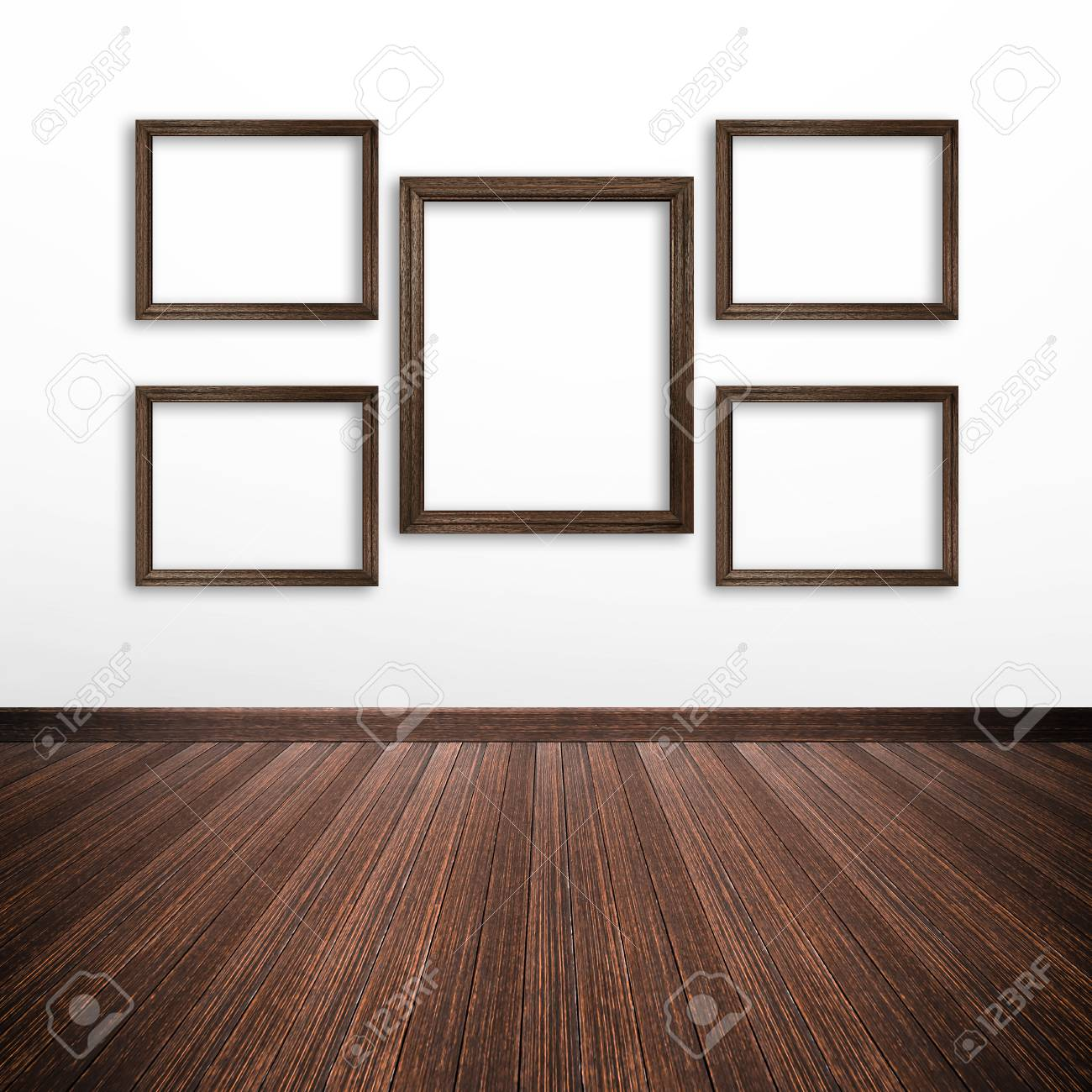 Holz-Bilderrahmen Auf Weiße Wand In Den Raum Lizenzfreie Fotos ...