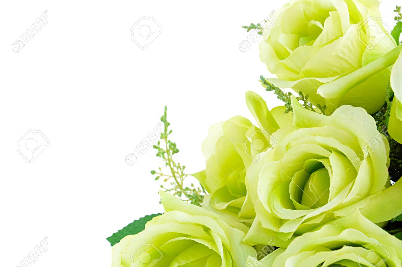 Green flower bouquet on white background border design with green flower bouquet on white background border design with space for text stock photo mightylinksfo