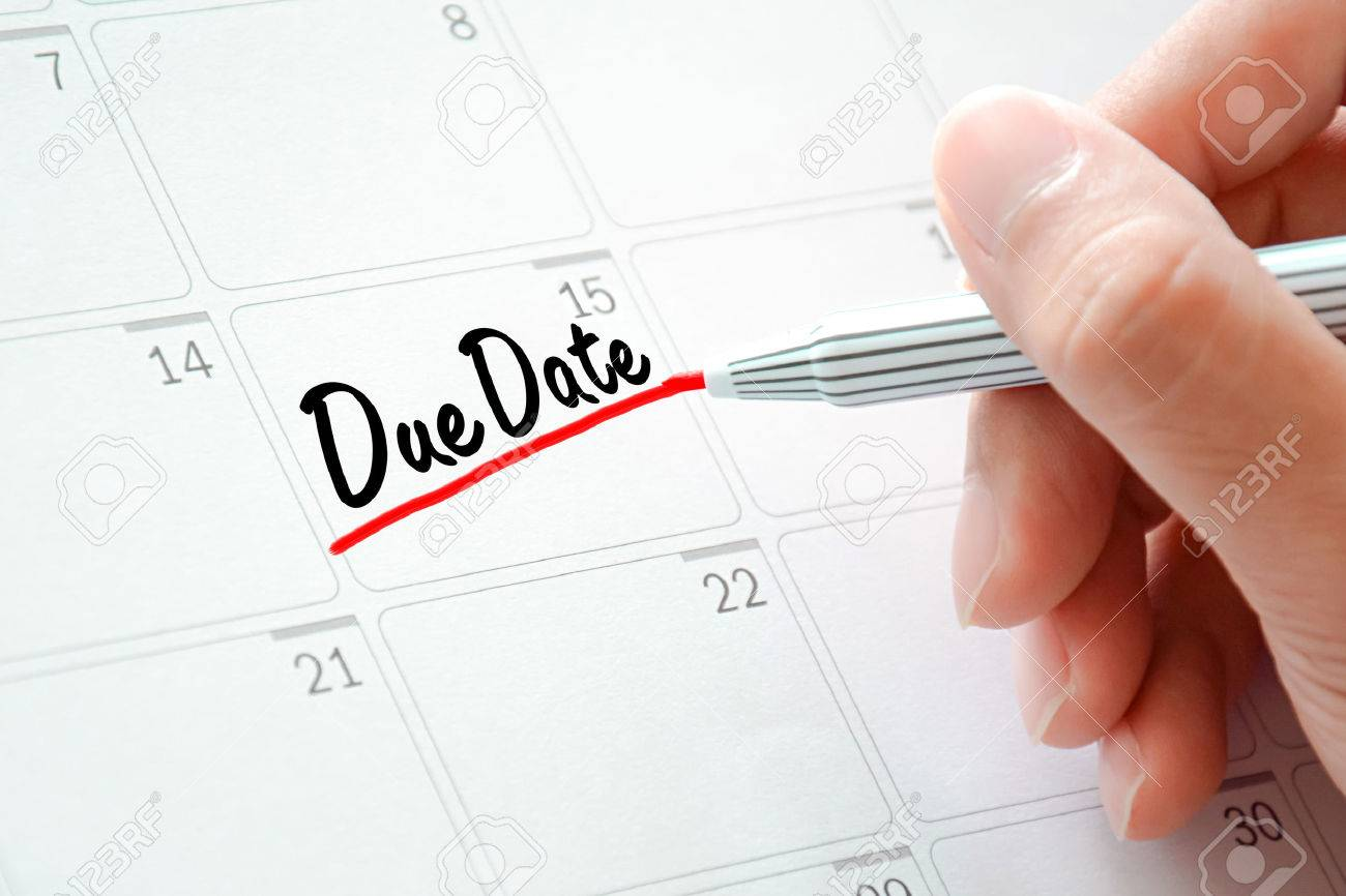 Due Date Text On The Calendar Or Desk Planner Underlined With