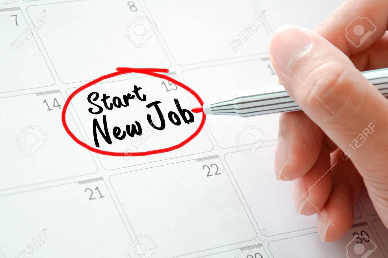 start new job texts on the calendar or desk planner circled start new job texts on the calendar or desk planner circled red marker