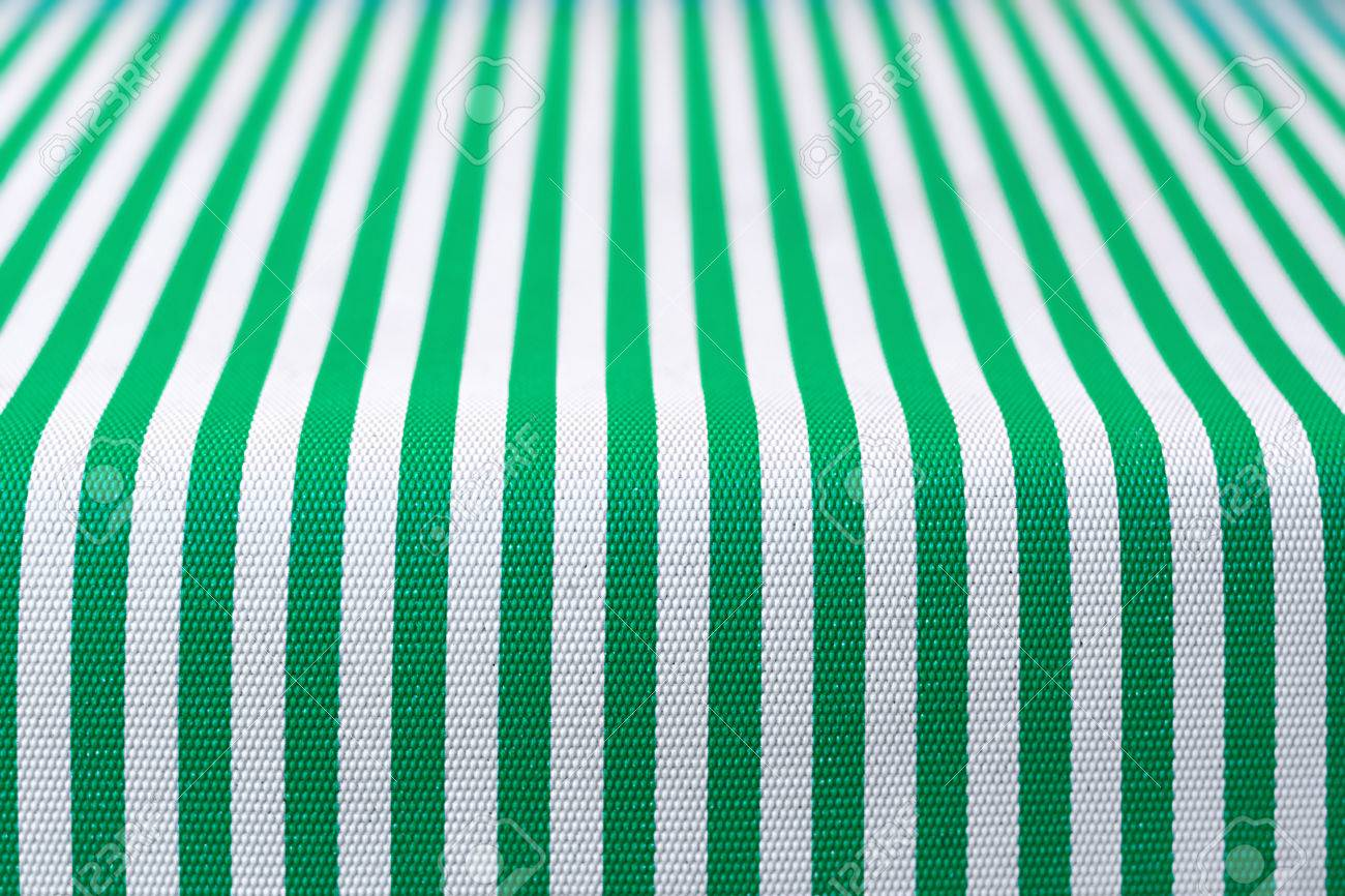 White And Green Striped Tablecloth Stock Photo   40830209