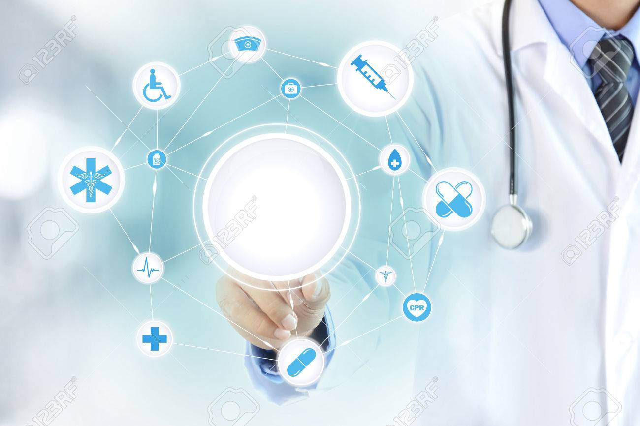 Doctor hand touching blank circle on virtual screen, healthcare and medical background concept - can montage or put your texts (pictures) in a circle Stock Photo - 41302873