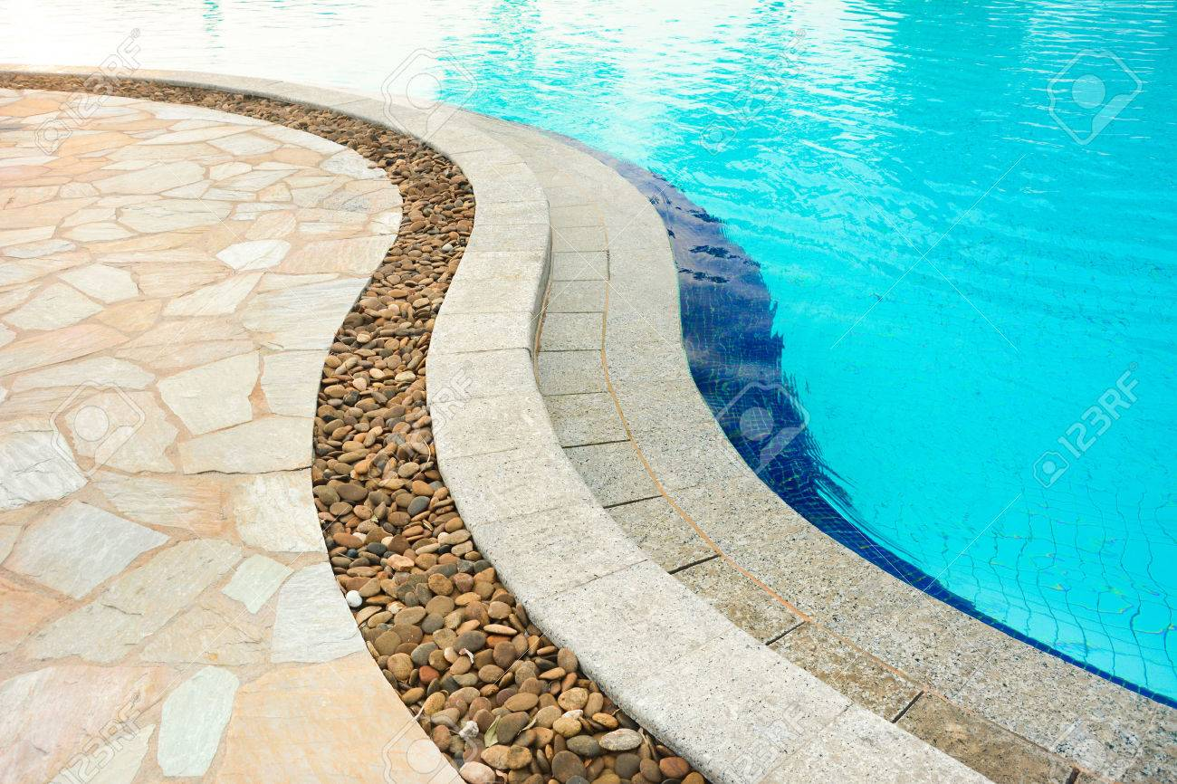 Curved Swimming Pool Coping, Made Of Stones Stock Photo, Picture And ...