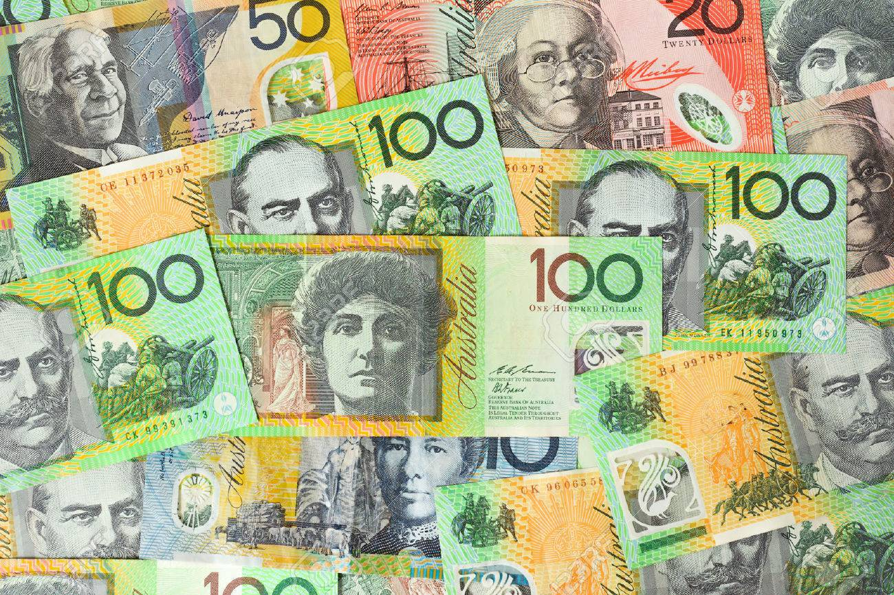 Various Kinds Of Australian Dollar Aud Banknotes Money