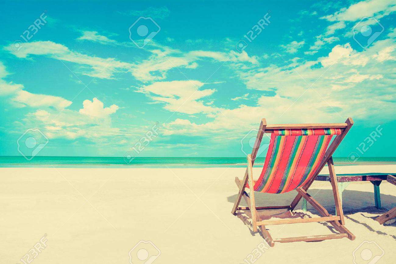 Beach chair on beach - Beach Chair Beach Chair On White Sand Beach In Sunny Sky Background Vintage Tone