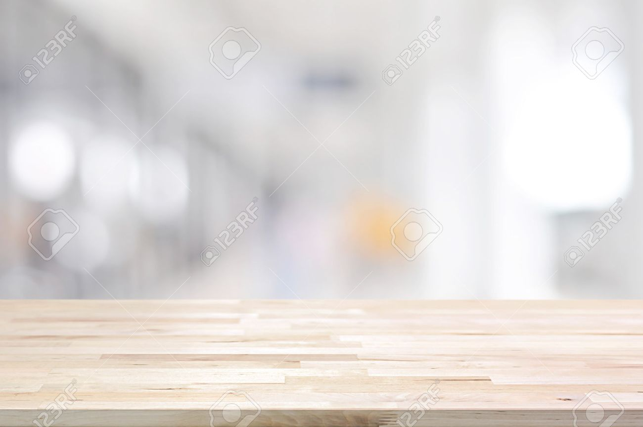 Wood table background hd - Wood Table Top On Blurred White Gray Background From Hallway Can Be Used For Display