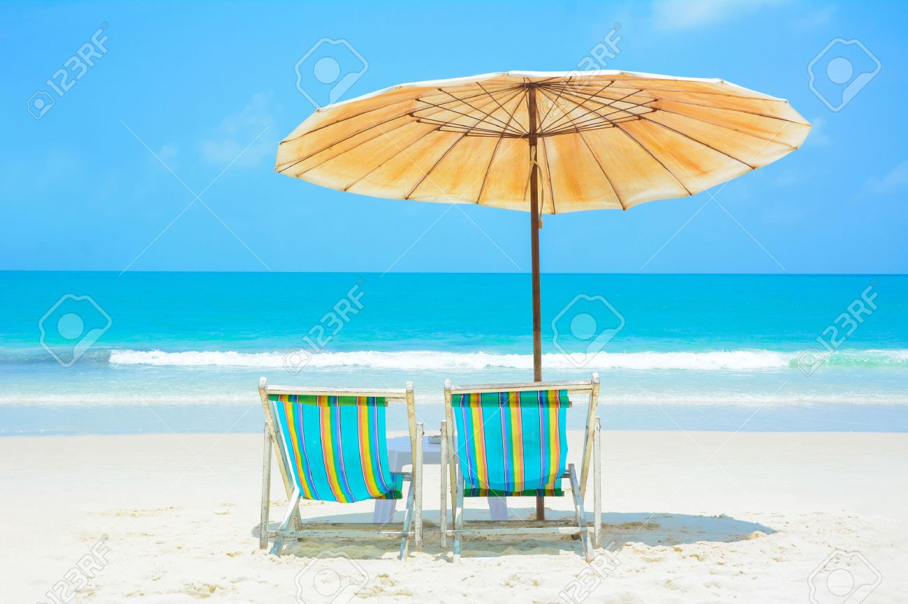 Blue Sea And White Sand Beach With Beach Chairs And Umbrella, Samed Island,  Thailand
