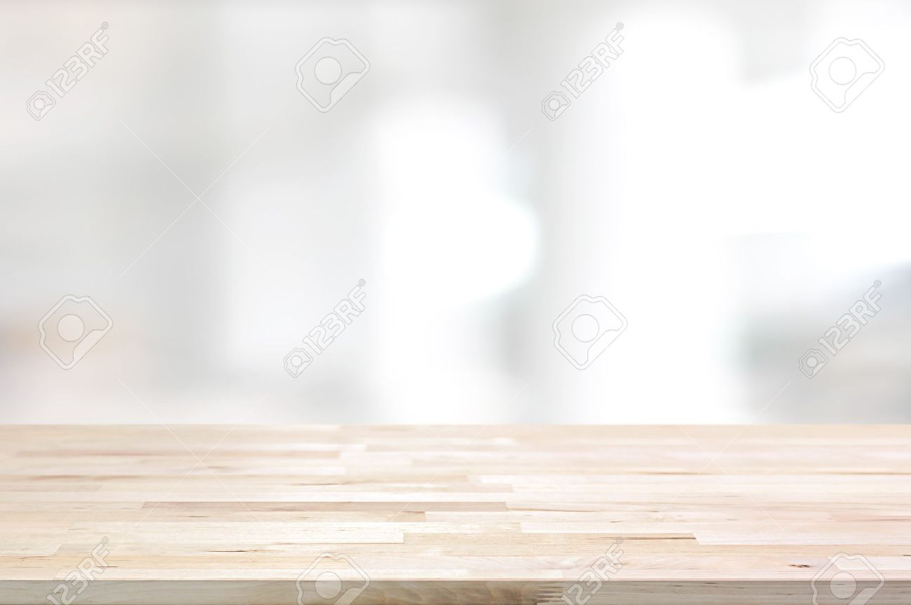 Wood Table Top On White Blurred Abstract Background From Building Hallway    Can Be Used For