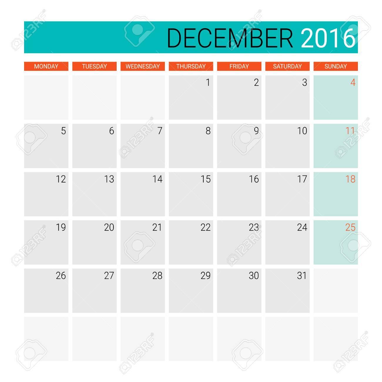 December 2016 Calendar Or Desk Planner Royalty Free Cliparts