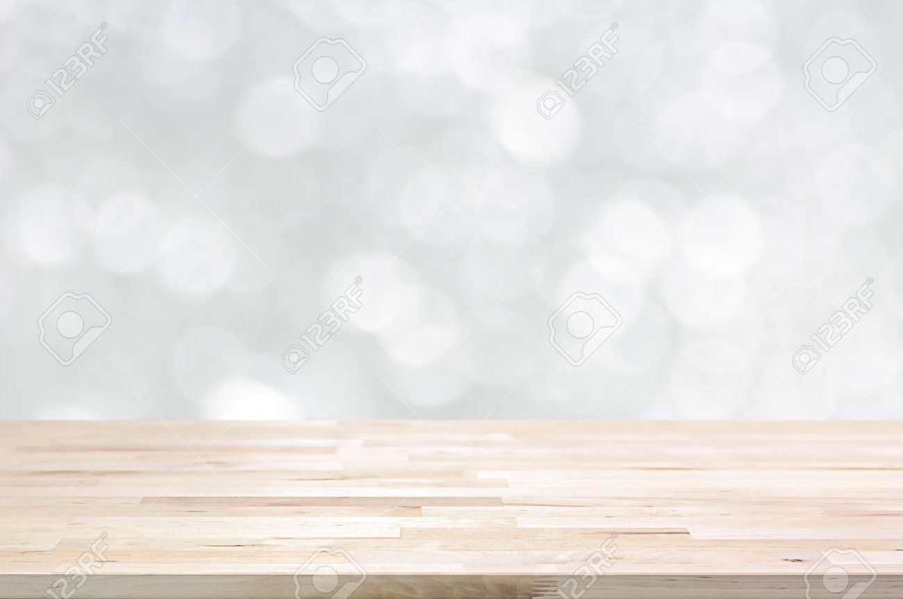 Plain wood table with hipster brick wall background stock photo - Plain Wood Table Top On White Bokeh Abstract Background Can Be Used For Montage