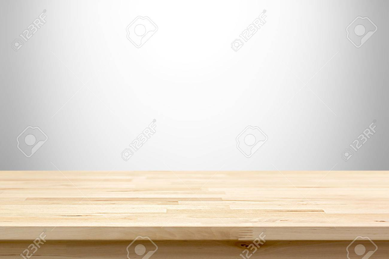 Wood table top on white gray gradient abstract background - can be used for display or montage your products - 50112052