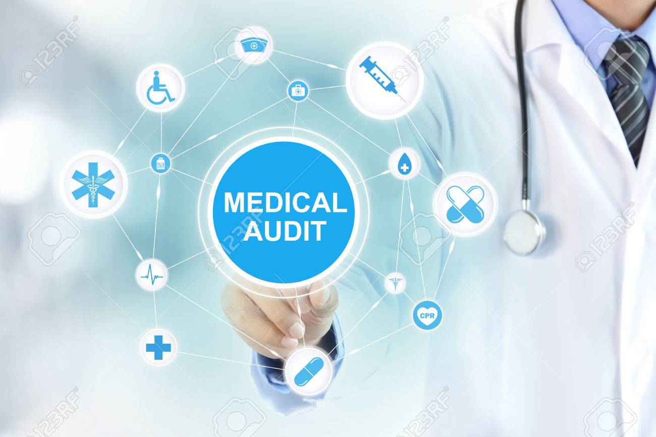 Doctor hand touching MEDICAL AUDIT sign on virtual screen - 50112145