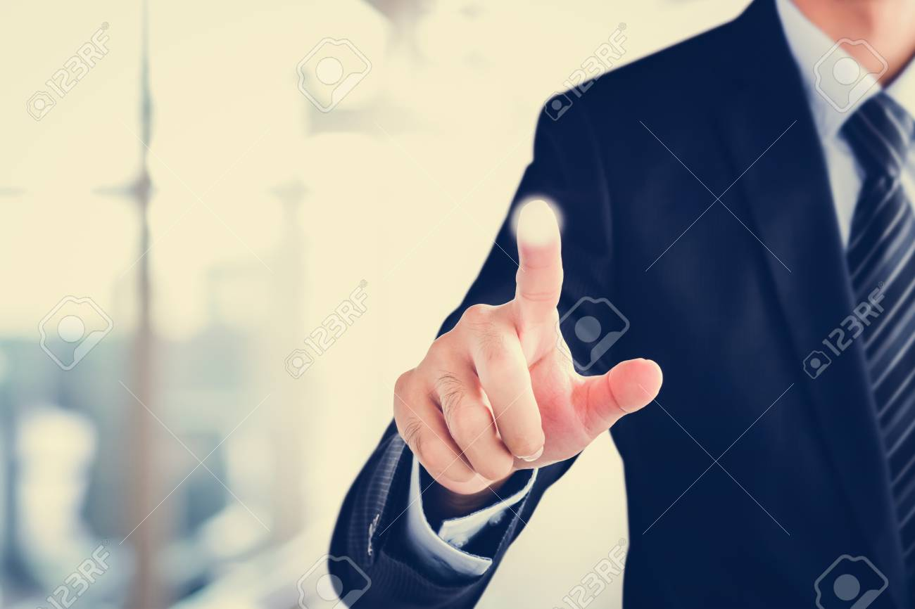 Businessman hand touching on empty virtual screen, modern business user interface (UI) background concept - 57403181