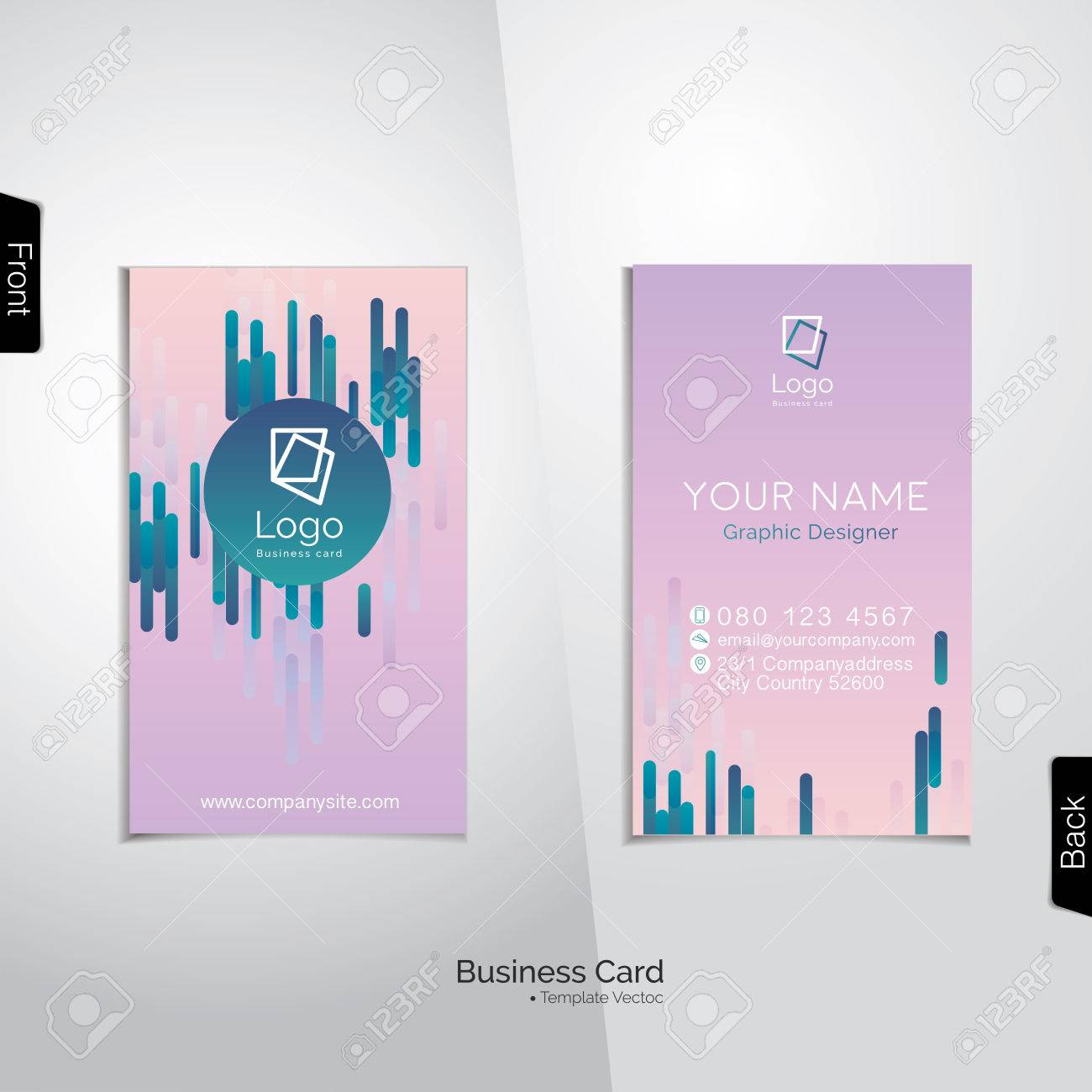 Modern Gradient Pinkish Purple Business Card With Abstract Vertical ...