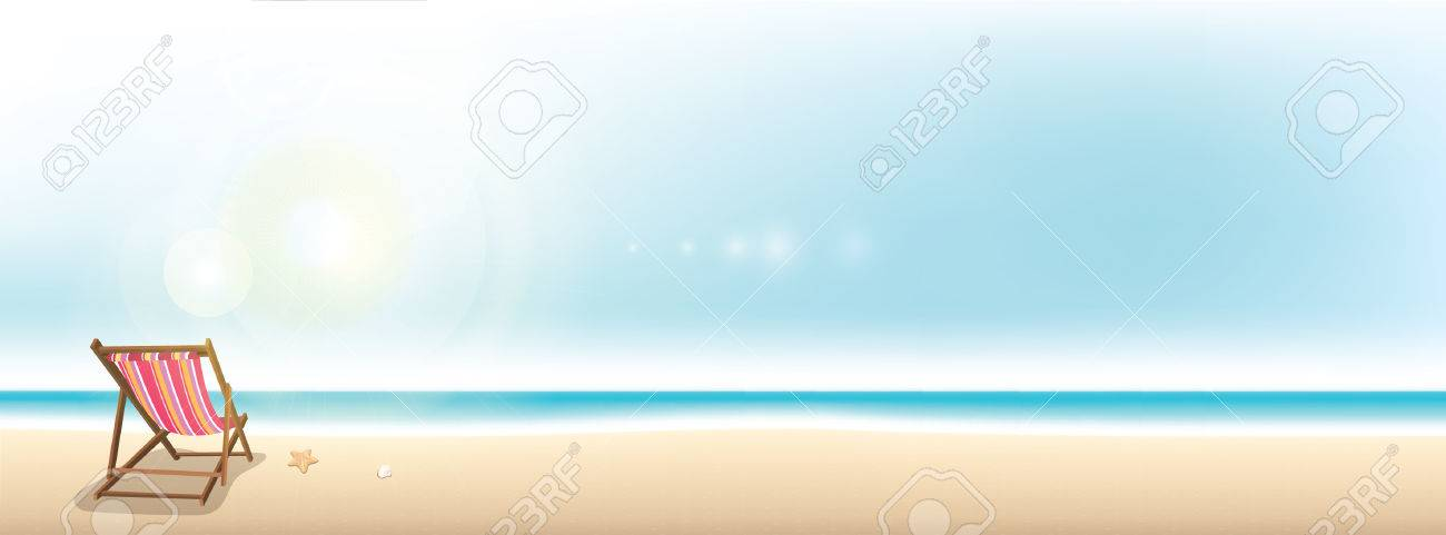 Colorful beach chair on the beach - summer holiday banner background with copy space - 63230118