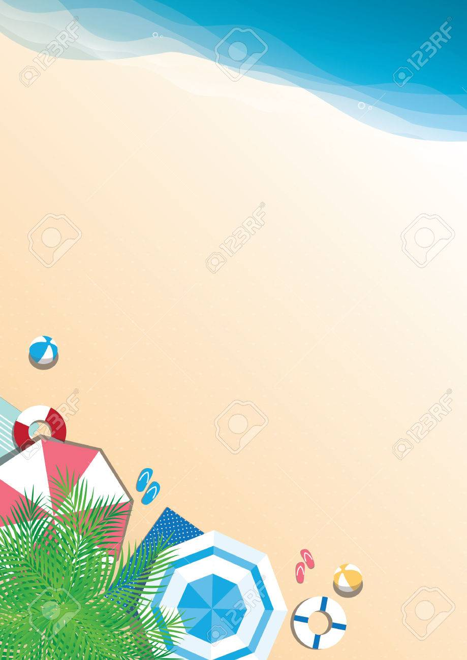 Colorful summer beach vector background - top view with copy space - 63230130