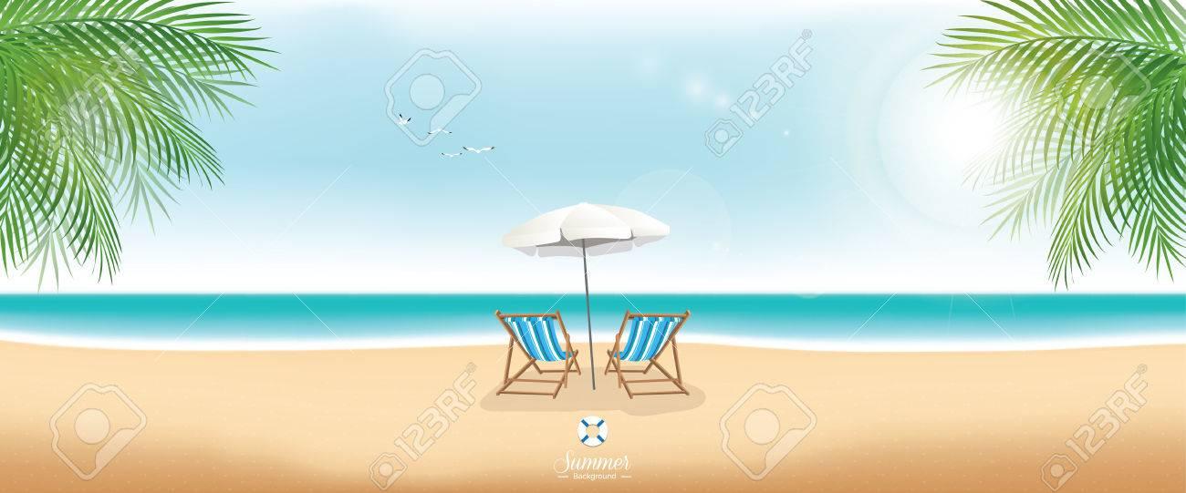 Beautiful summer beach with beach chairs and umbrella - panorama banner - 63281699